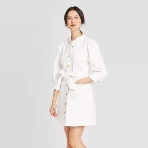 3/4 Sleeve Button-Down Dress Who What Wear White